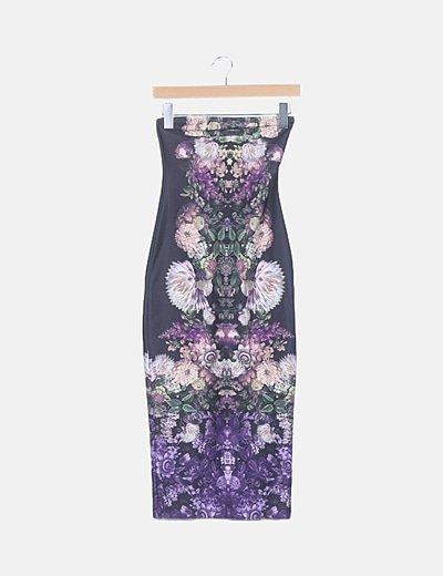 Vestido tubo neopreno floral