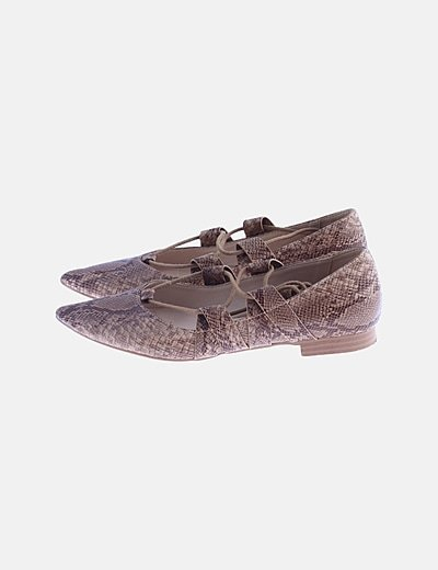 Bailarina beige animal print lace up