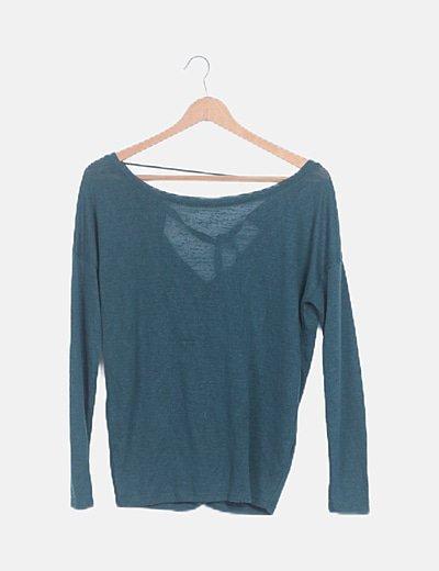 Jersey tricot verde detalle lazo