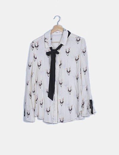 Camisa blanco roto estampada