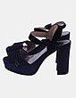 Sandalia negra de tacón Parfois