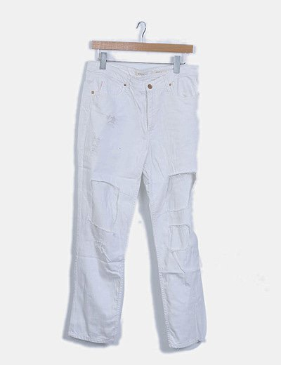Jeans denim blancos ripped