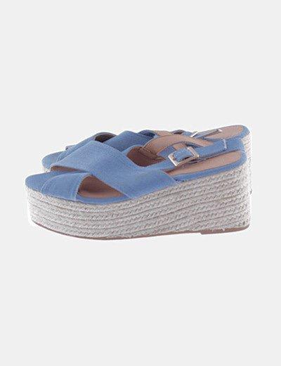 Sandalias azul cuñas esparto
