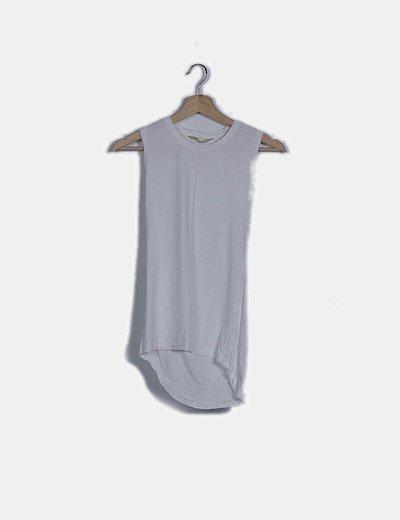 Camiseta blanca manga corta tail hem