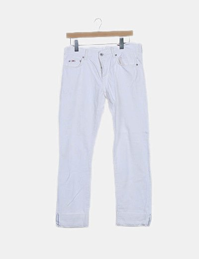 Pantalón denim blanco detalle botones