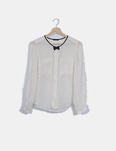 Camisa blanca fluida lazo