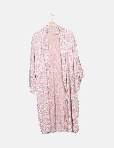 Kimono largo rosa satén estampado