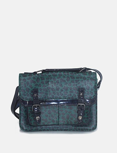 Bolso satchel verde animal print