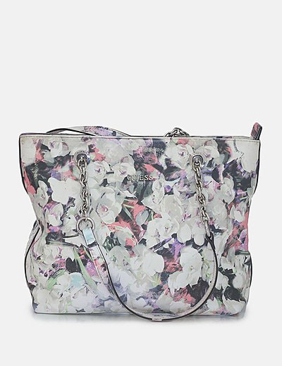 Bolso hombro beige floral