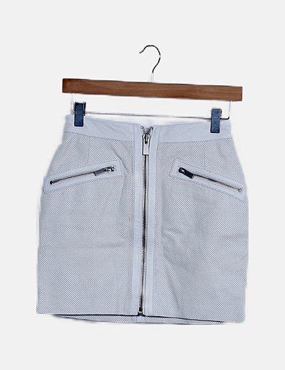 Mini falda cuero blanco calado