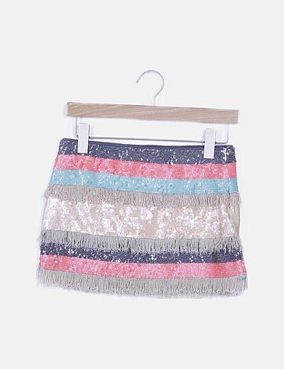 Falda mini de paillettes con flecos