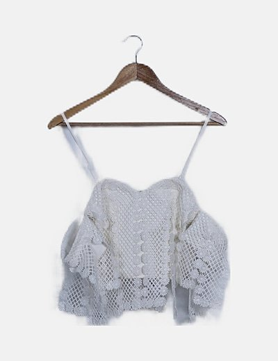 Crop top crochet blanco