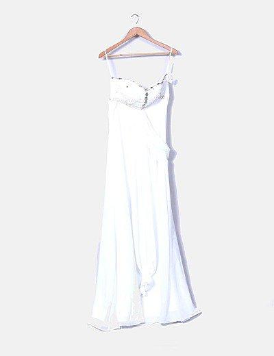 Maxi vestido de fiesta crudo con strass