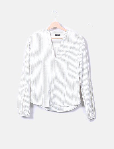 Camisa blanca raya verde