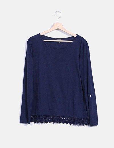Camiseta crochet azul marino