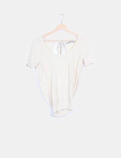 Camiseta tricot beige espalda cruzada
