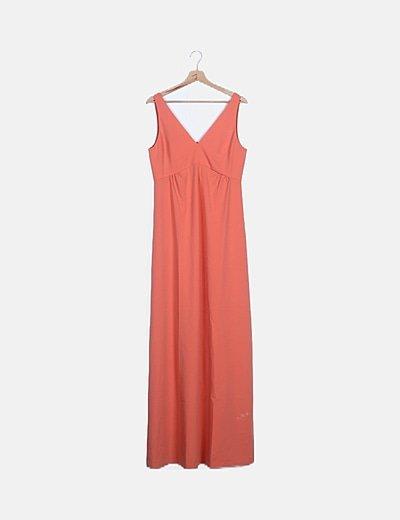 Maxi vestido naranja fluido