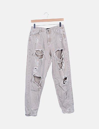 Jeans denim beige ripped