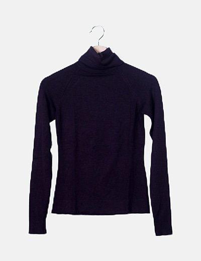 Jersey tricot berenjena cuello vuelto