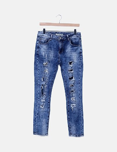 Jeans denim azul oscuro ripped