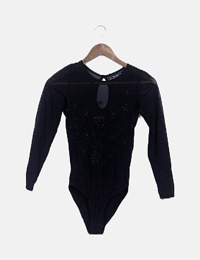 Body negro semitransparente abalorios