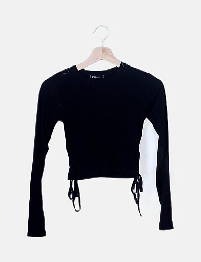 Crop top negro canalé lace up