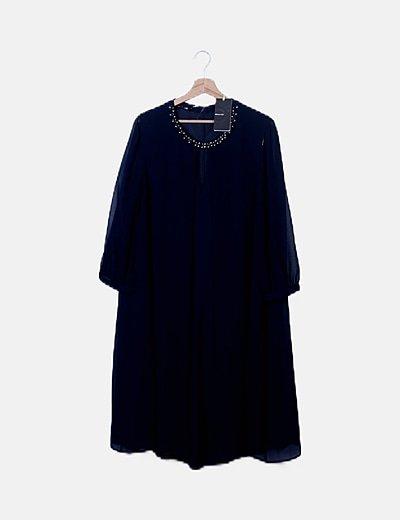 Vestido azul marino escote pedrería