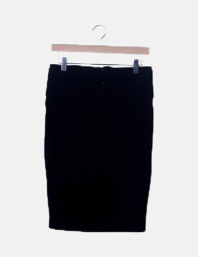 Falda midi negra detalle cintura