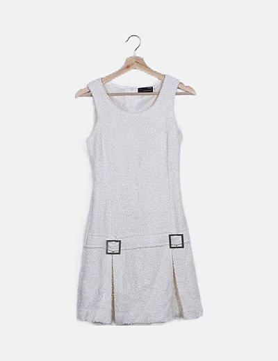 Vestido mini blanco roto rizo