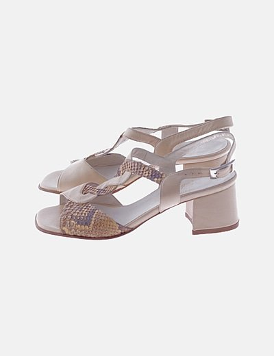 Sandalias piel beige combiandas