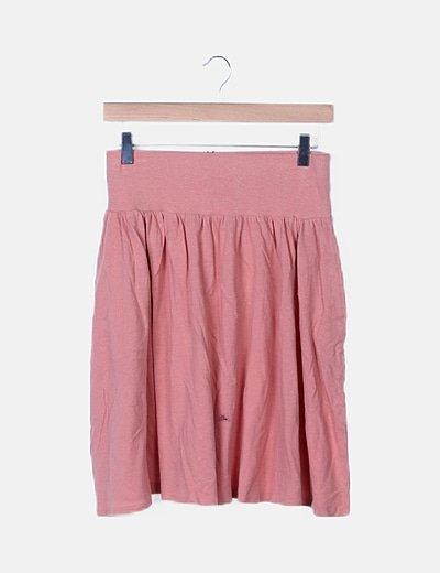 Falda tricot rosa con elástico