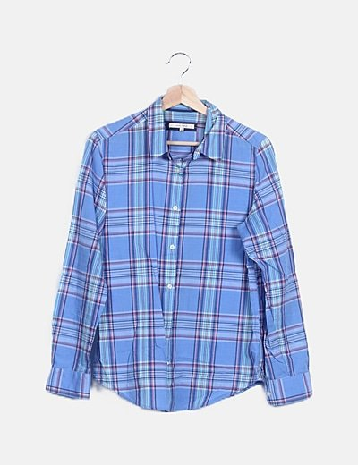 Camisa azul cuadros multicolor
