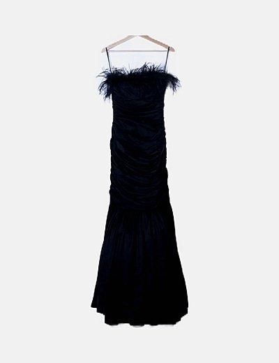 Vestido maxi negro drapeado