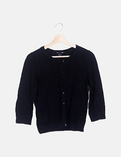 Cardigan tricot negro manga francesa