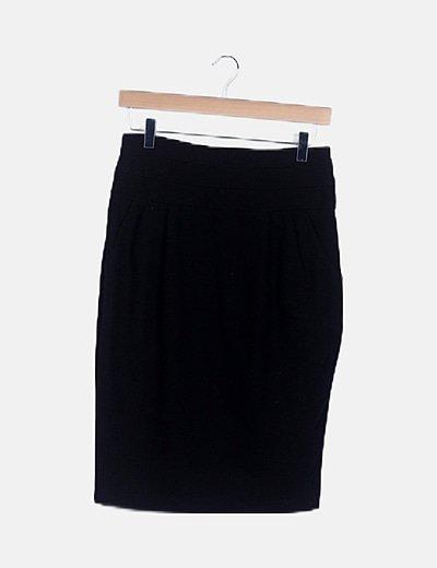 Falda tubo midi negra