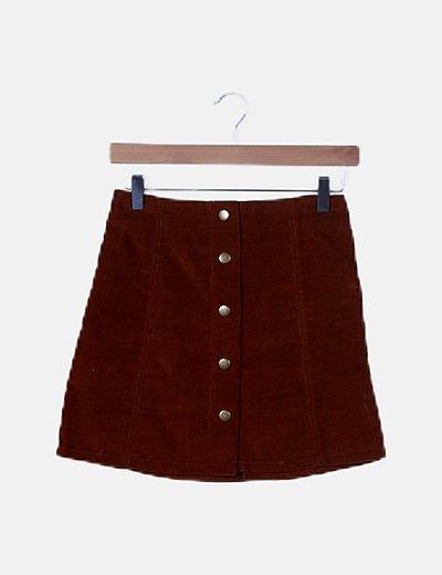 Falda mini pana mostaza