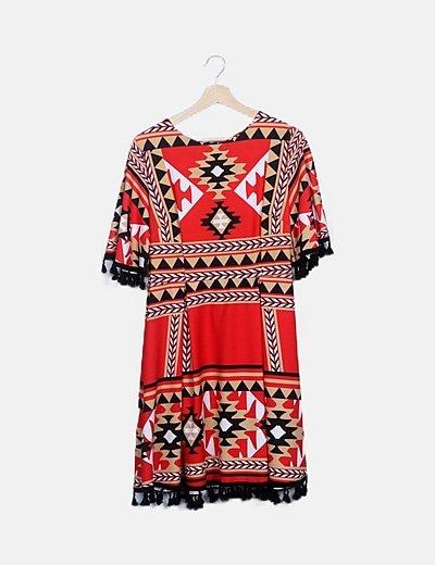 Vestido rojo estampado étnico