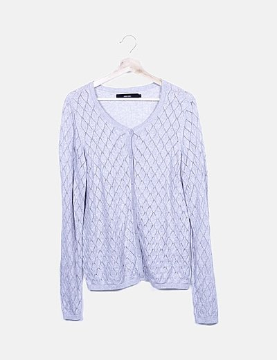 Chaqueta tricot gris abotonada