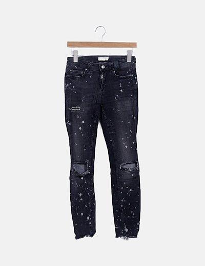 Jeans grises efecto pintura