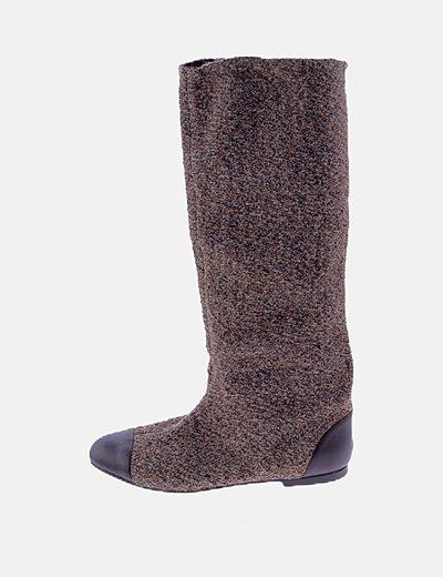 Bota tricot marrón combinada