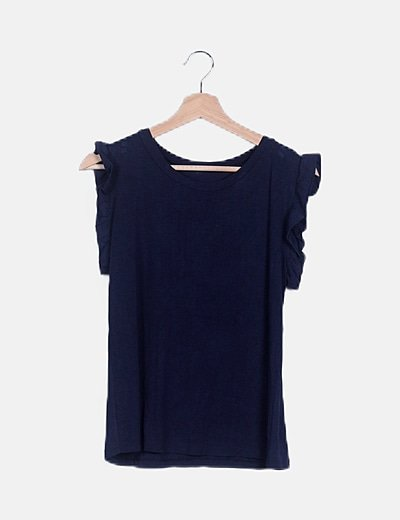 Camiseta azul marino mangas volante