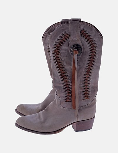 Bota cowboy beige