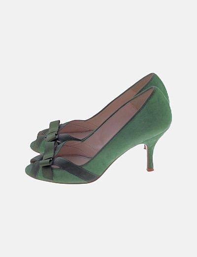 Zapato verde peep toe