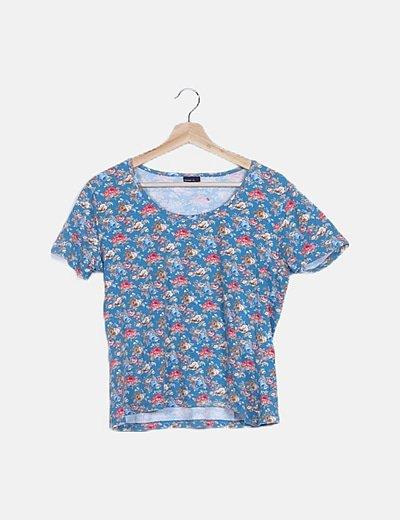 Camiseta azul print floral