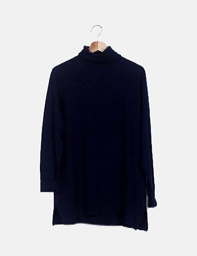 Jersey tricot azul marino cuello vuelto