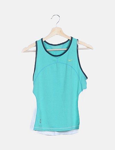Camiseta verde combinada sin mangas