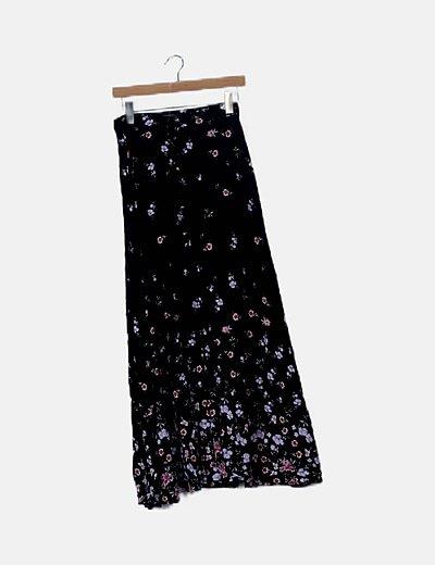 Falda maxi negra estampado floral