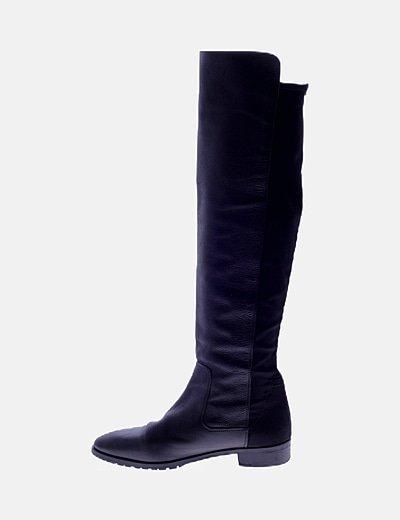 Botas altas negras planas combinadas