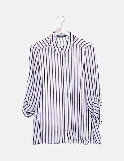 Camisa semitransparente bicolor de rayas