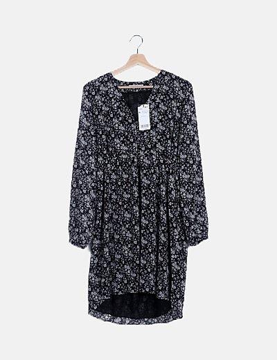 Vestido fluido negro print floral